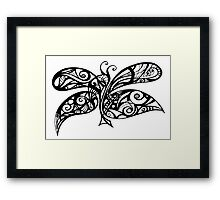 Black and White Doodle - Butterfly Framed Print