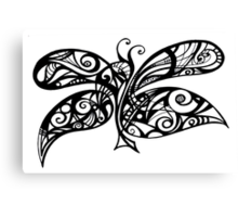 Black and White Doodle - Butterfly Canvas Print