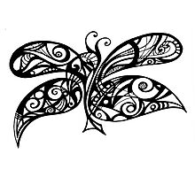 Black and White Doodle - Butterfly Photographic Print