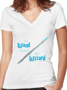 The Flute Chooses the Wizard Women's Fitted V-Neck T-Shirt