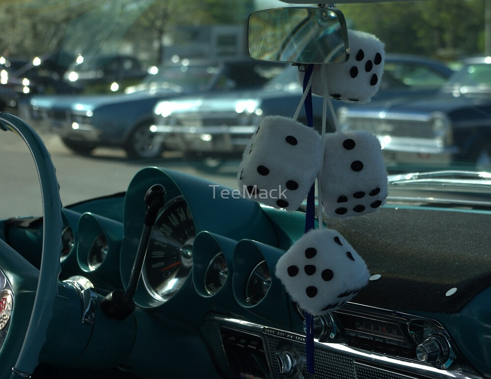 """Fuzzy Dice"" hanging from the car mirror. by TeeMack"