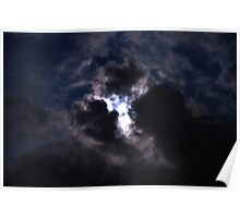 Moon Lite Clouds Poster