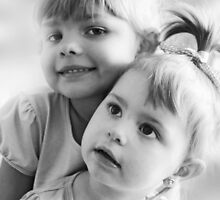 Portrait Of Two Sisters In Black And White by Evita