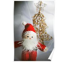 Little knitted Santa loves Christmas Poster