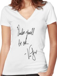Vic Fuentes Handwriting; Darling, you'll be okay Women's Fitted V-Neck T-Shirt