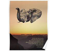 Low-poly Elephant and D. H. Lawrence Quote Poster