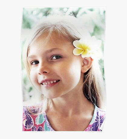 Girl And Frangipanis Flowers Poster