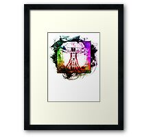 Colorful Grunge Vitruvian Man - Leonardo Da Vinci Tribute Art T Shirt - Stickers Framed Print