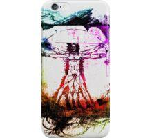 Colorful Grunge Vitruvian Man - Leonardo Da Vinci Tribute Art T Shirt - Stickers iPhone Case/Skin