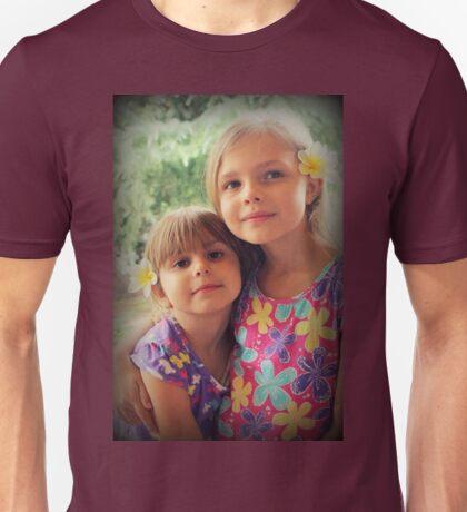 Summer Girls. Frangipanis On Their Hair Unisex T-Shirt