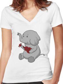 Elephant Loves Her Ukulele  Women's Fitted V-Neck T-Shirt