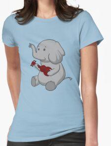 Elephant Loves Her Ukulele  Womens Fitted T-Shirt