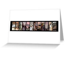 Reptiles Strip Black Collage Greeting Card