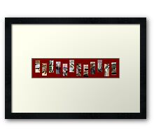 Reptile Strip Red Collage Framed Print