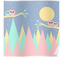 moutains and owls Poster