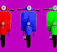 Three Scooters Pop Art by Auslandesign