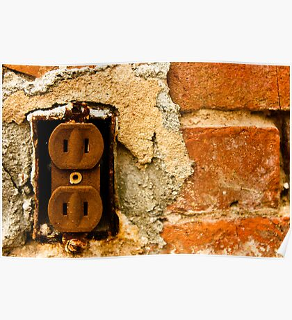 Old - rusty looking - electrical outlet Poster