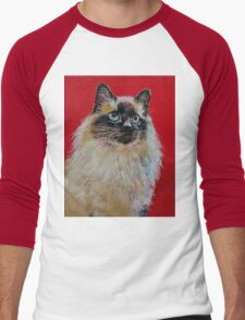 Siamese Cat Portrait Men's Baseball ¾ T-Shirt