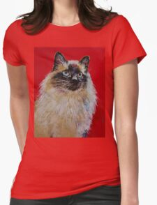 Siamese Cat Portrait Womens Fitted T-Shirt