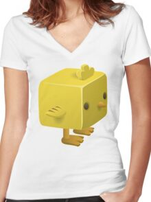 Blocky Baby Chick, Chicken Illustration Women's Fitted V-Neck T-Shirt