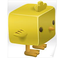 Blocky Baby Chick, Chicken Illustration Poster