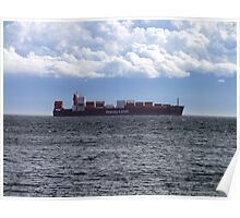 Container Ship off Cordova Bay Poster