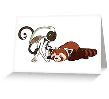 Momo petting Pabu Greeting Card
