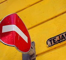 Bent no entry sign, Havana, Cuba by buttonpresser