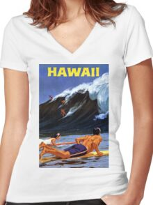 Hawaii Vintage Travel Poster Restored Women's Fitted V-Neck T-Shirt