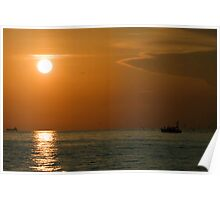 Sunset over the sea Poster