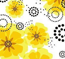 Pepper Poppies Abstract Flowers yellow by Cheryl Daniels