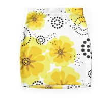 Pepper Poppies Abstract Flowers yellow Mini Skirt