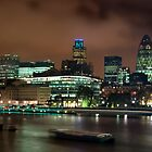 London Skyline at night, shot from Tower Bridge by Hugster62