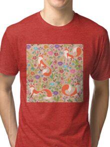 Flower Foxes Tri-blend T-Shirt