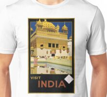 Visit India Vintage Travel Poster Restored Unisex T-Shirt