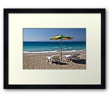 Beach in Rhodes, Greece Framed Print