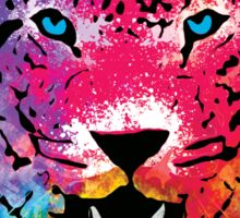 Tiger - Colorful Paint Splatters Dubs - T-Shirt Stickers Art Prints Sticker