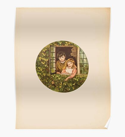 Rhymes for the Young Folk William and Hellen Allingham art Kate Greenaway 0004 Boy and Girl Poster