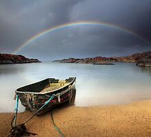 Boat and rainbow - Ardtoe, West Coast of Scotland by Angus Clyne