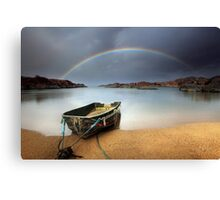 Boat and rainbow - Ardtoe, West Coast of Scotland Canvas Print