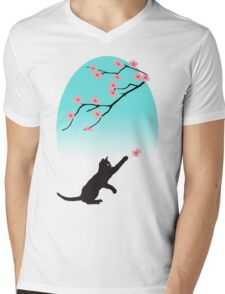 Spring Cat Mens V-Neck T-Shirt