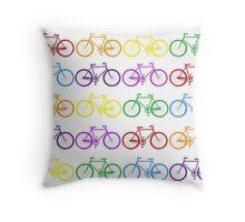 Rainbow Bikes  Throw Pillow