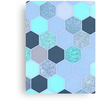 Denim Blue, Aqua & Indigo Hexagon Doodle Pattern Canvas Print