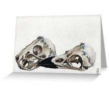 Rat and Raven Flower Crown Skulls Greeting Card
