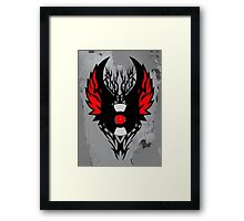 Retro PUNK ROCK Vinyl Record Art - Tribal Spikes and Wings - Cool Music Lover DJ T-Shirt Prints Notebook and Stickers Framed Print