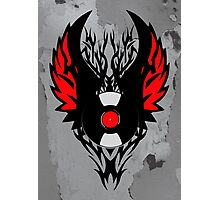 Retro PUNK ROCK Vinyl Record Art - Tribal Spikes and Wings - Cool Music Lover DJ T-Shirt Prints Notebook and Stickers Photographic Print