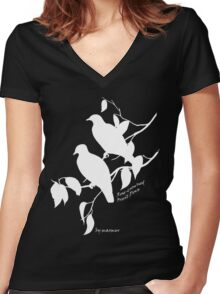White Rose-crowned fruit dove Women's Fitted V-Neck T-Shirt
