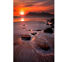Sunset over the Isle of Rhum, Western Scotland. Photographic Print