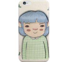 Blue hair cute girl leaves cartoon art iPhone Case/Skin