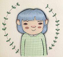 Blue hair cute girl leaves cartoon art by EllieBarrett